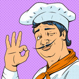 Chef show okay sign pop art style vector Royalty Free Stock Photo