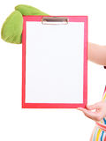 Chef showing clipboard with empty blank for text recommended menu Royalty Free Stock Image