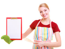 Chef showing clipboard with empty blank for text recommended menu Royalty Free Stock Photos