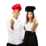 Chef showing middle finger Royalty Free Stock Photography