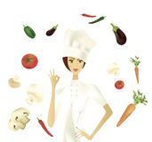 Chef showing Ok Gesture with Vegetables Stock Photography