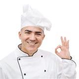 Chef showing ok sign isolated on white background Stock Image