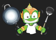 Chef showing pan and flipper in his hand Thai giant cartoon acti. Chef showing pan and flipper in his hand Thai cartoon acting character vector design background Royalty Free Stock Photography