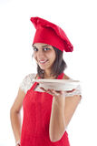 Chef showing plate Stock Photography