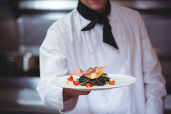 Chef showing plate of spaghetti Royalty Free Stock Photos