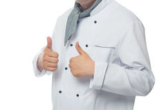 Chef showing signs hands. Chef showing hand sign of the excellent cuisine Royalty Free Stock Photo