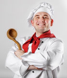 Chef showing spoon Stock Photos