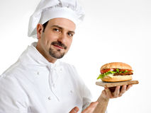 Chef shows his delicious ham burger Stock Image