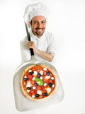 Chef shows his delicious pizza Stock Images