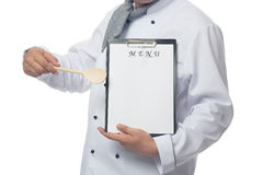 Chef shows the place for your menu. Place for your menu here Royalty Free Stock Images