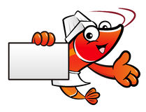 Chef Shrimp Character is Holding a business card. Stock Photos