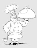 Chef with a signature dishes. Freehand drawing Stock Image