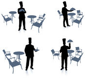 Chef silhouette at cafe Royalty Free Stock Images