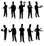 Chef silhouette collection stock photo