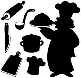 Chef silhouettes collection Royalty Free Stock Photography