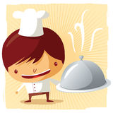 Chef - silver platter. Enjoy your diner Royalty Free Stock Photography