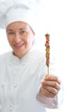 Chef with skewer Stock Image