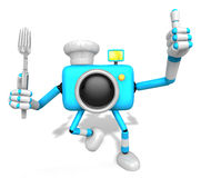 Chef Sky blue Camera Character left hand fork. The best gesture Stock Photography