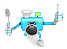 Chef Sky blue Camera Character left hand fork. The best gesture Royalty Free Stock Photo