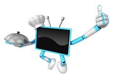 Chef sky blue TV Mascot the right hand best gesture and the righ Royalty Free Stock Photos