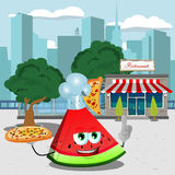 Chef slice of watermelon holding pizza with attitude in front of a restaurant Stock Images