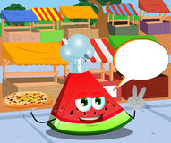Chef slice of watermelon with pizza gesturing the peace sign on the market with speech bubble Royalty Free Stock Photo