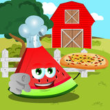 Chef slice of watermelon with pizza pointing at viewer on a farm Royalty Free Stock Photography