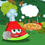 Chef slice of watermelon with pizza pointing at viewer in the forest with speech bubble Royalty Free Stock Photography