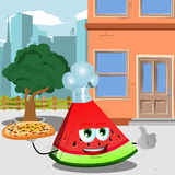 Chef slice of watermelon with pizza showing thumb up in the city Stock Photography