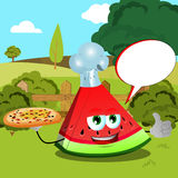 Chef slice of watermelon with pizza showing thumb up on a meadow with speech bubble Stock Photos
