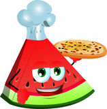 Chef slice of watermelon showing a delicious pizza Stock Images