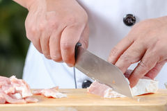 Chef sliced pork Stock Photos