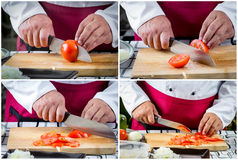 Chef sliced tomato. Collage picture of chef sliced tomato on board Stock Image