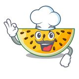 Chef sliced yellow watermelon on character cartoon. Vector illustration vector illustration