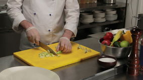 Chef slicing an apple finely, medium shot stock video