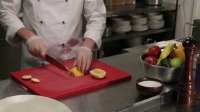 Chef slicing lemon, medium shot. Chef in restaurant slicing fresh lemon, medium shot stock video