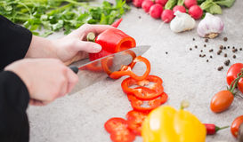 The chef slicing vegetables. Royalty Free Stock Images