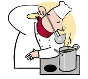 Chef smelling. Or tasting from ladle Stock Photos