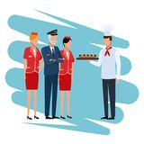 Chef with snacks. Chef offering snacks to aviation workers cartoon vector illustration graphic design stock illustration