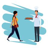 Chef with snacks. Chef offering snacks to people cartoon vector illustration graphic design vector illustration