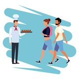 Chef with snacks. Chef offering snacks to people cartoon vector illustration graphic design stock illustration