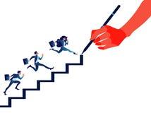 Chef som drar trappa för affärsfolk Trappuppgångbegrepp royaltyfri illustrationer