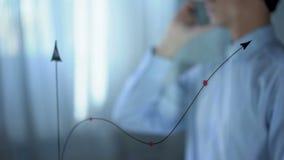 Chef som talar på telefonen nära försäljningstillväxtdiagrammet, affärsstrategi, framsteg stock video