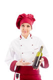Chef Somelier with wine Stock Photo