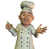 Chef with soup spoons Royalty Free Stock Images