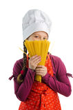 Chef with spaghetti. A nice chef with a bunch of yellow spaghetti royalty free stock photo