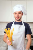 Chef with spaghetti Stock Images