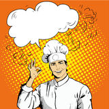 Chef with speech bubble shows OK sign. royalty free illustration