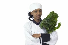 Chef and spinach. Studio isolated woman female chef and fresh green spinach vegetable Stock Photography
