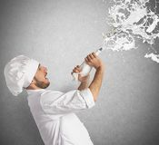 Chef splash cream Stock Photography